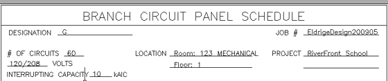 Top Section of a Branch Circuit Panel Schedule