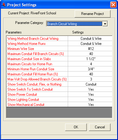 Project Parameters Dialog Showing Branch Circuit Wiring Parameters